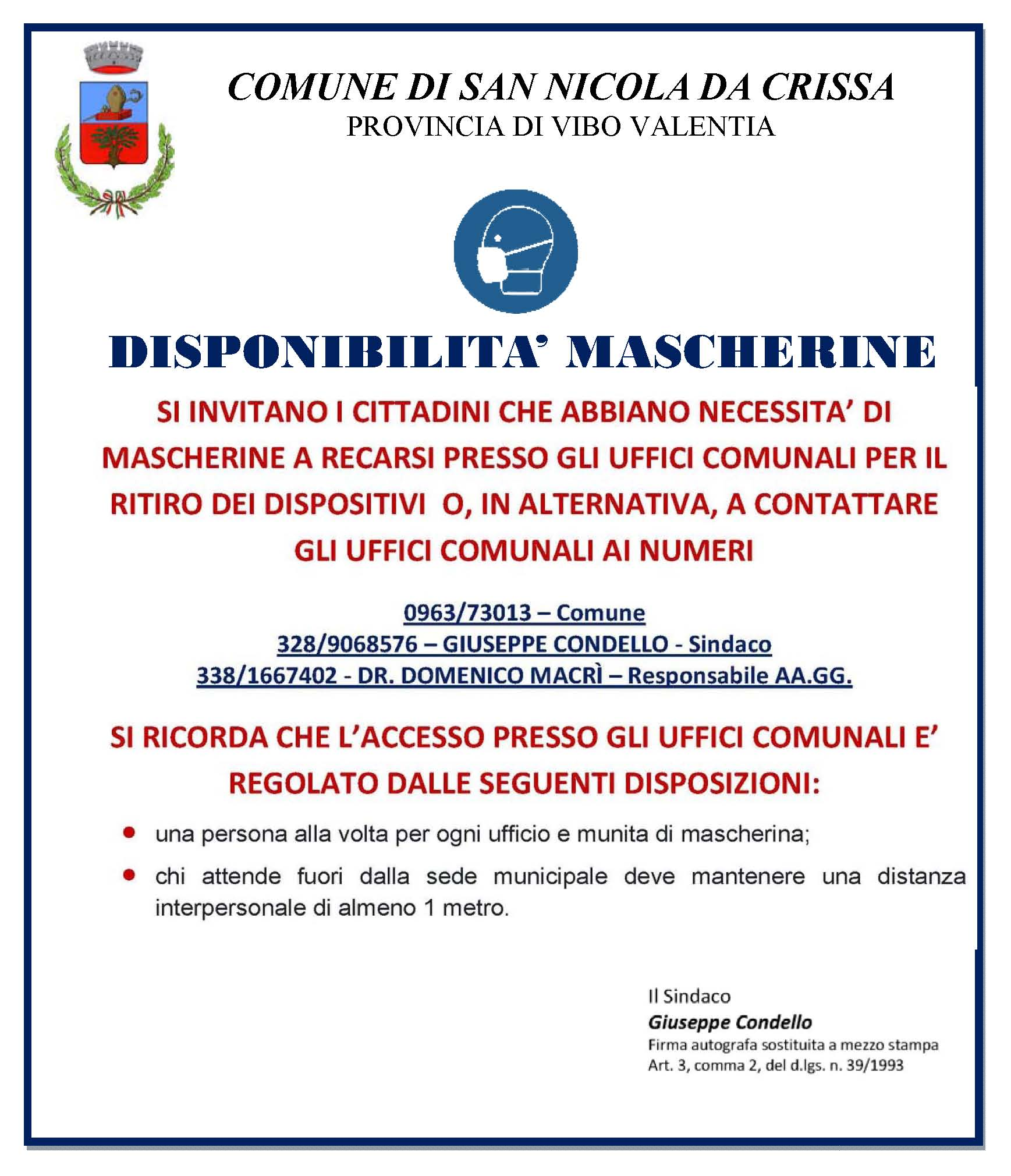 disponibilità mascherine